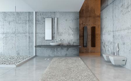 modern bathroom: Interior of Modern Luxury Bathroom Decorated in Grey Minimalistic Style
