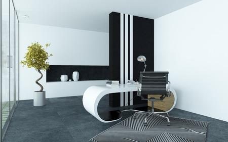 Moderní elegantní kancelář interiér s čistým šedé a bílé barvě a zakřiveným modulární stůl, kovová otočná židle a černé pruhované skříň s prosklenou stěnou okna dolů jedné strany Reklamní fotografie