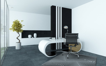 Modern elegant office interior with clean grey and white decor and a curved modular desk, metal swivel chair and black striped cabinet with a glass wall of window down one side
