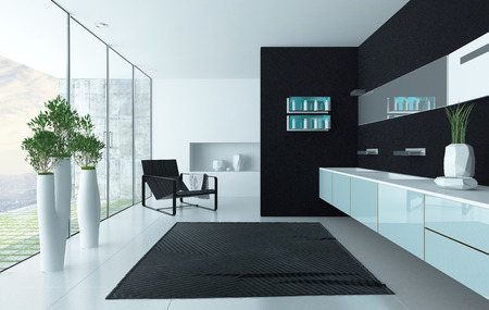Moderne zwarte luxurios design badkamer interieur Stockfoto