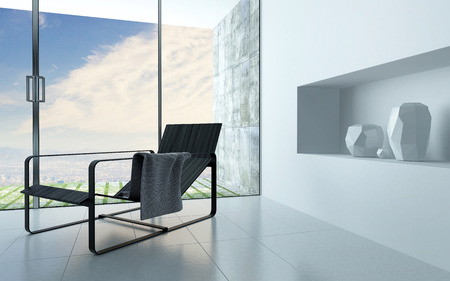 Contemporary recliner chair in a white living room interior with a recessed alcove for ornamental vases and a large view window leading to a patio photo