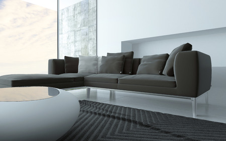 wall angle corner: Grey and white minimalist sitting room interior with a stylish modern coffee table and upholstered lounge suite in front of floor to ceiling glass windows