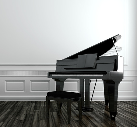 View of an open grand piano with a stool in a classic paneled room with a wooden parquet floor
