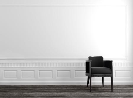 Moderne graue Chair in Upscale Luxury Home mit weißen Wänden und Parkettboden Standard-Bild - 31687448