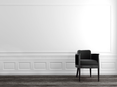 Modern Grey Chair in Upscale Luxury Home with White Walls and Wood Floor