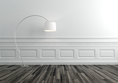 Modern Floor Lamp in Upscale Luxury Home with White Walls photo