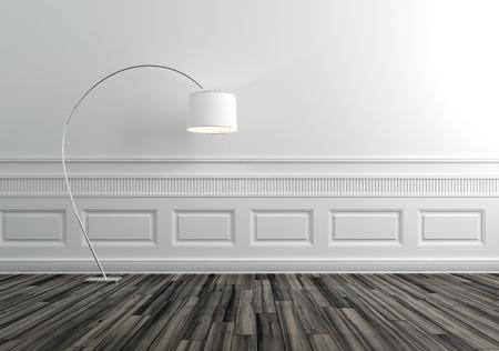 Moderne vloerlamp in Upscale Luxury Home met witte muren