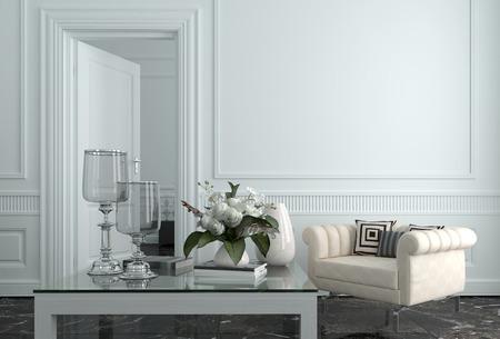 흰 벽과 가구들로 럭셔리 상류층 가정의 시팅 룸