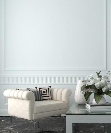 白い壁と家具の豪華な高級な家のリビング ルーム 写真素材