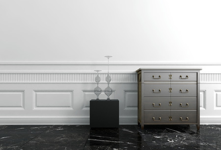 End Table and Chest of Drawers in White Hallway of Upscale Home