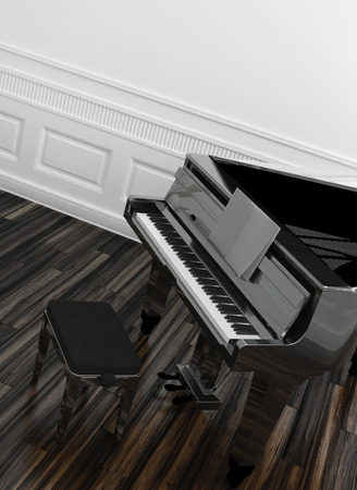 High angle view of an open grand piano with a view of the keyboard on a wooden parquet floor in a white paneled room photo