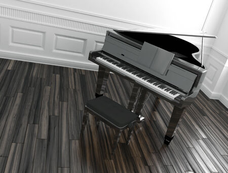 High angle view of an open grand piano with a stool in a classic paneled room with a wooden parquet floor photo