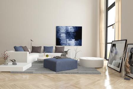 pokoj: Obývací pokoj interiér s rybí parketovou podlahou a komfortní moderní modulární čalouněný sedací soupravou s umělecká díla na stěnách