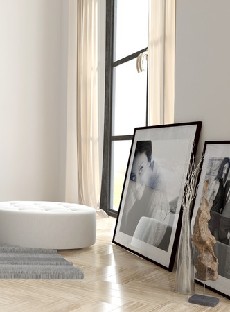 framed picture: Framed Photographs and White Bench near Large Window in Apartment Stock Photo