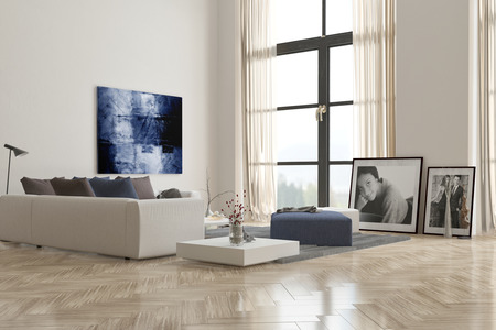 modern lamp: Living room interior with a herringbone parquet floor and comfortable modern modular upholstered lounge suite with artwork on the walls