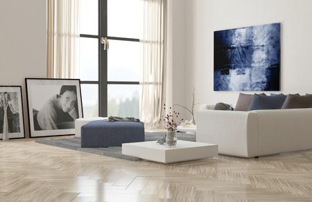 frame on wall: Interiore del salone con pavimento in parquet a spina di pesce e confortevole modulare suite di salotto imbottito moderno con opere d'arte alle pareti