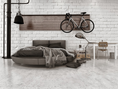 モダンなロフト スタイルのベッドルームのアパートの家具、ラウンド ベッド、壁に掛かっている自転車に