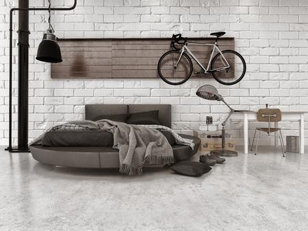 벽에 매달려 가구, 원형 침대, 자전거와 아파트에서 현대 로프트 스타일의 침실