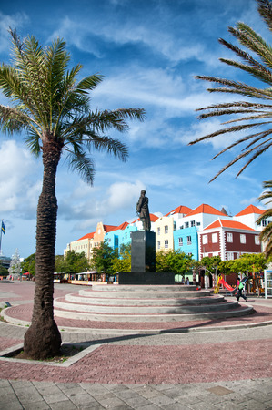 luis: Statue of Luis Brion at Otrobanda waterfront in Willemstad, Curacao, Caribbean Editorial