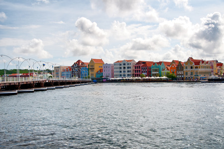 antilles: View of Punda district with its traditional colorful dutch houses in Willemstad, Curacao Editorial