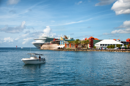 antilles: View of punda district with large cruise ship Willemstad, Curacao, caribbean Editorial