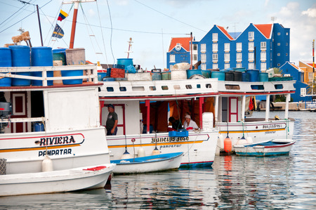 city fish market: floating fish market at Willemstad, Curacao, Caribbean