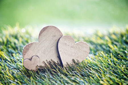 green life: Still Life of Three Wooden Hearts on Green Grass with Selective Focus Stock Photo
