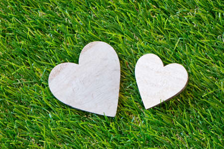 Duo Of Hearts In Different Sizes On Green Grass Symbolic Of Love