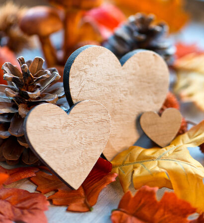 Still Life of Wooden Hearts Amongst Autumn Foliage with Selective Focus photo