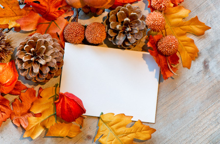Blank Note Amongst Autumn Foliage on Wooden Background as seen from Above photo