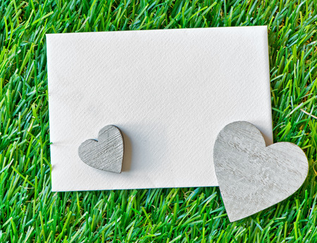Two Wooden Hearts and Blank Paper Note on Green Grass as seen from Above