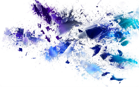 blotches: Abstract Splatters of Blue and Purple on White Background