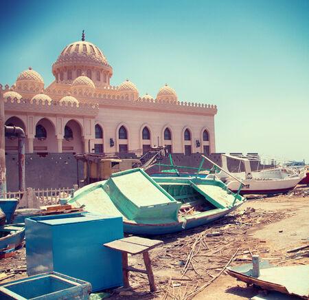 ashore: Boats Ashore Outside of El Mina Mosque in Hurghada, Egypt