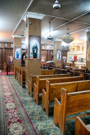 hurghada: Interior of old coptic church in Hurghada city, Egypt Editorial
