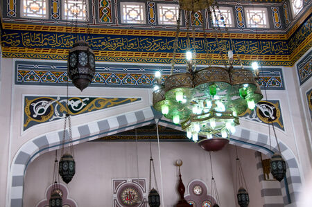 hurghada: Lanterns and Intricate Interior of Mosque in Hurghada, Egypt Editorial
