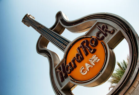 hard rock: Low Angle View of Guitar Sign at Hurghada Hard Rock Cafe