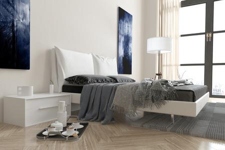 divan: Moderne Schlafzimmer Interieur mit Doppelschlafcouch fallen in Decken und Wohndecken in grau und wei� gehaltene Einrichtung mit einem Fr�hst�ckstablett auf dem Boden neben und hinter einem Fenster