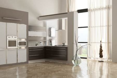 Modern minimalist kitchen interior with built in appliances and cabinets, double volume white walls and a reflective floor