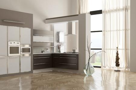 Nội thất nhà bếp hiện đại tối giản với xây dựng trong các thiết bị và tủ, khối lượng gấp đôi bức tường trắng và một tầng phản xạ Kho ảnh
