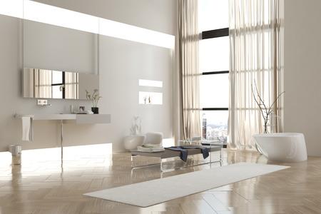 Innenansicht der modernen, weißen Bad in Wohnung mit spärlicher Einrichtung