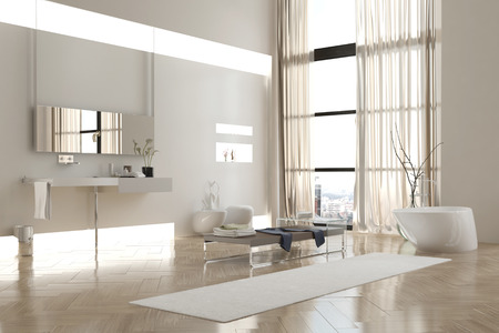 Interior of Modern White Bathroom in Apartment with Sparse Furnishings photo
