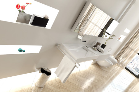 Angled View of Interior of Modern White Bathroom with Focus on Sink Area in Apartment photo