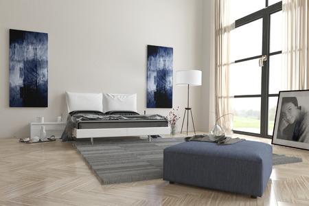 divan: Cómodo dormitorio interior gris y blanco contemporáneo con arte abstracto de la pared, gran ventana de visualización, cama doble, otomano y espiga suelo de parquet de madera