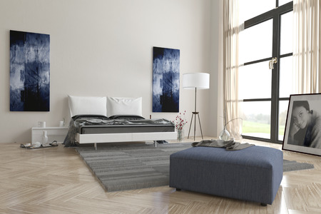 view of a comfortable bedroom: Comfortable contemporary grey and white bedroom interior with abstract wall art, large view window, double bed, ottoman and herringbone wooden parquet floor Stock Photo