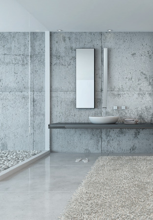 Sink and Mirror in Modern Luxury Bathroom Decorated in Grey Minimalistic Style