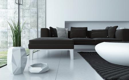 sols: Moderne gris et blanc salon int�rieur consid�r� faible angle sur un sol carrel� avec une suite tapiss� de salon, �l�gant table basse contemporaine et plante ornementale en pot en face de grandes fen�tres