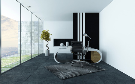office furniture: Stylish modern office or study with grey and white decor, a curved modular desk and chrome swivel chair and long floor to ceiling glass windows leading to a patio