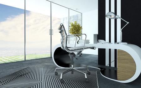 muebles de oficina: Blanco moderno mobiliario de oficina curvado con estilo en un interior de la oficina de lujo con una silla giratoria de metal, alfombra de rayas y un gabinete y un piso panorámica para ver las ventanas del techo