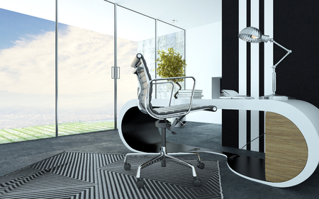 office cabinet: Stylish curved white modern office furniture in an upmarket office interior with a metal swivel chair, striped carpet and cabinet and a panoramic floor to ceiling view windows