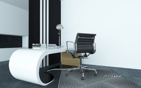 Modular curved modern white desk in an office with a silver metallic swivel chair on a geometric striped carpet with a black and white striped cupboard behind for dynamic interior decor photo